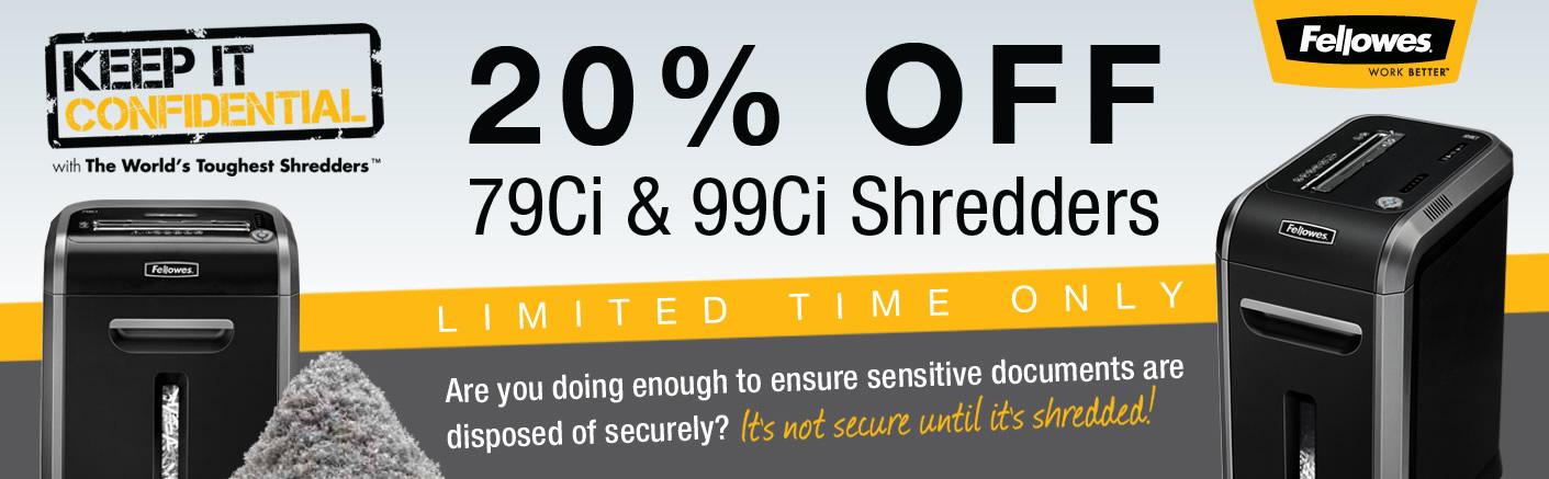 20% Off Fellowes 79Ci & 99Ci Shredders